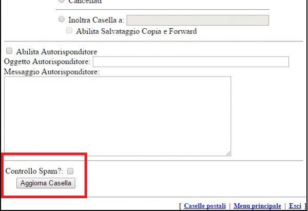 Controllare filtro antispam attivare