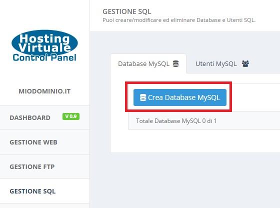 crea database mysql