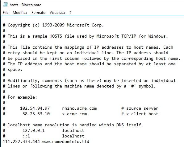 File hosts windows modificato