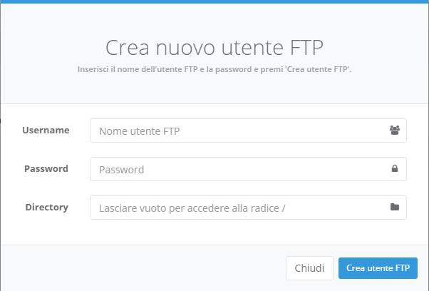 HVCP Creare utente FTP