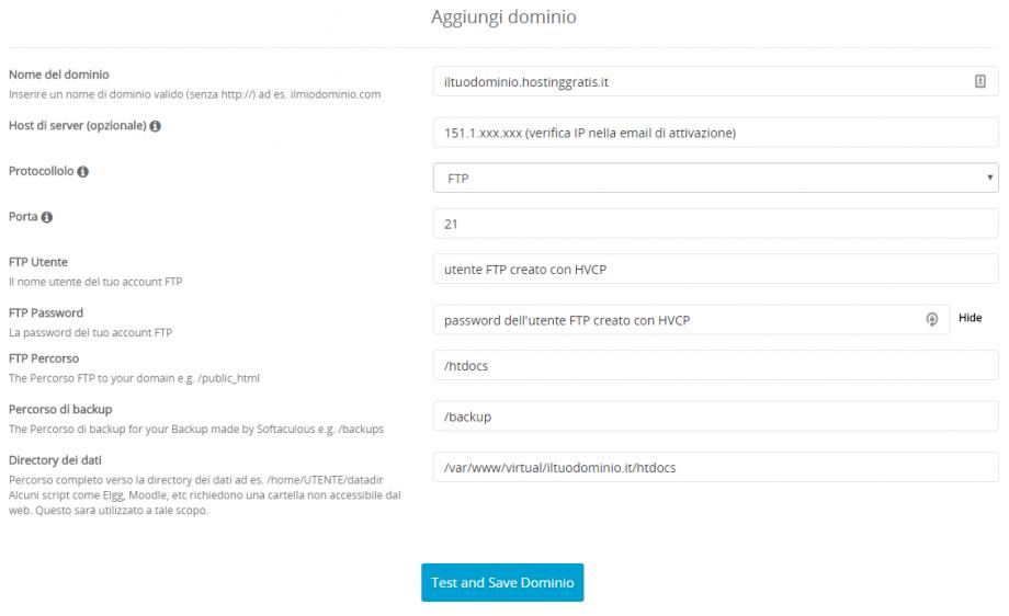 Softaculous configurazione HostingGratis
