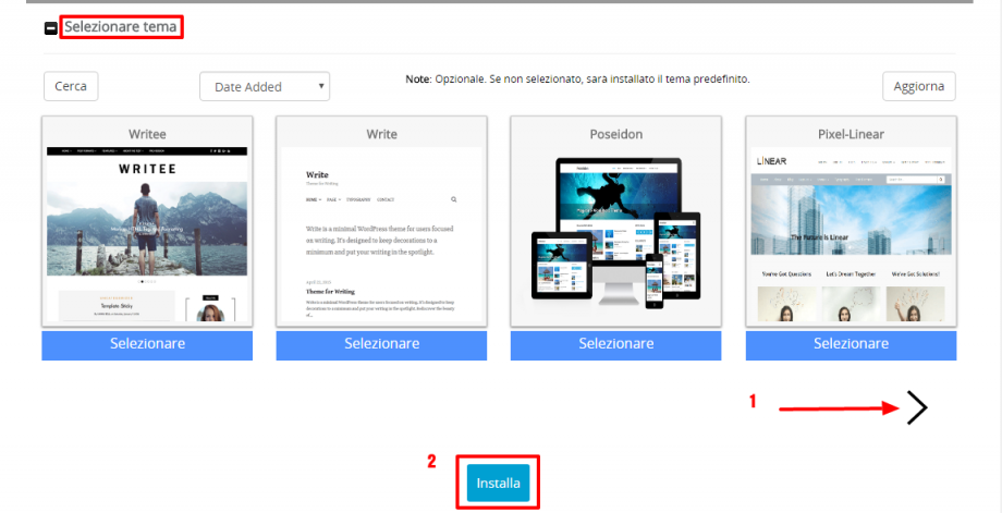 Softaculous installazione temi WordPress