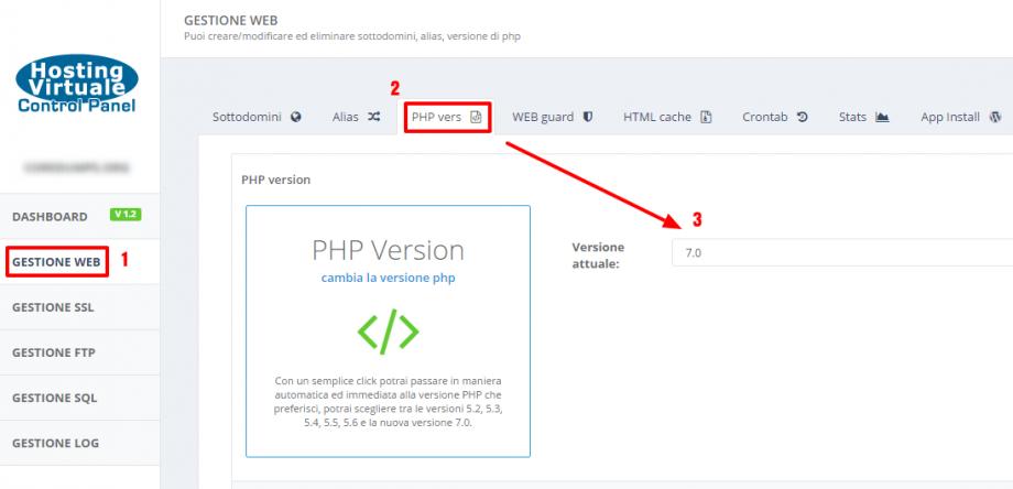 Scelta della versione di PHP
