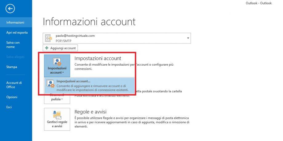 impostazione account