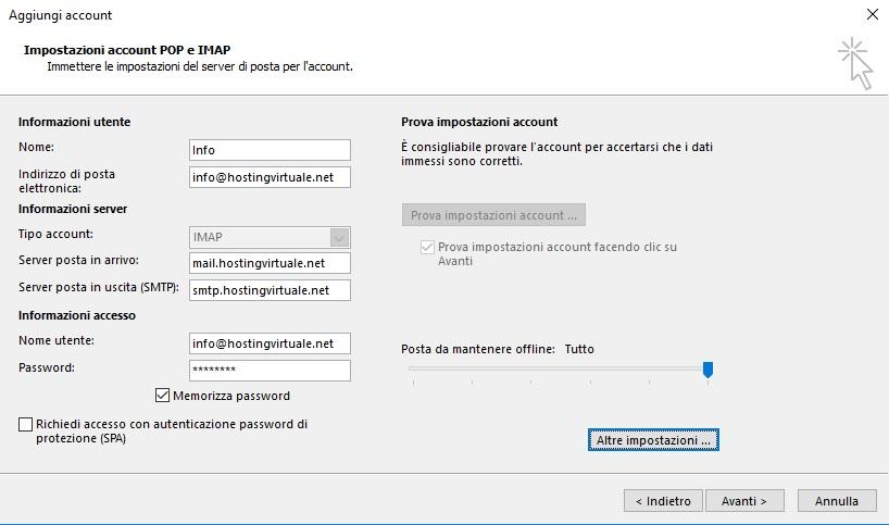 impostazione account imap