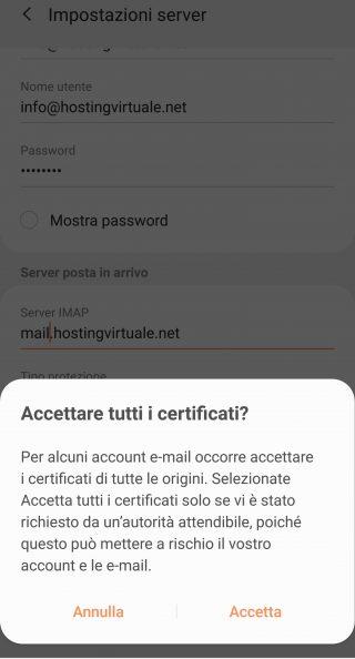 impostazioni server imap accetta certificato
