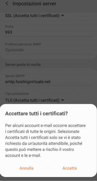 impostazioni server smtp accetta certificato