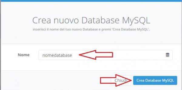inserire nome database