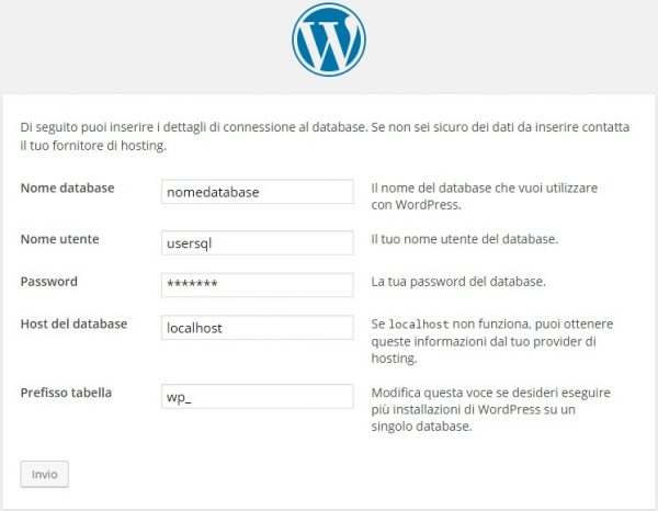 installazione wordpress inserimento database