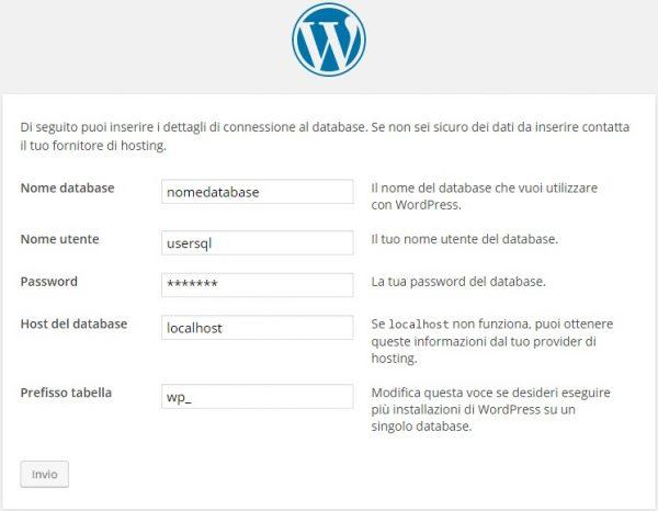 installazione wordpress inserimento database