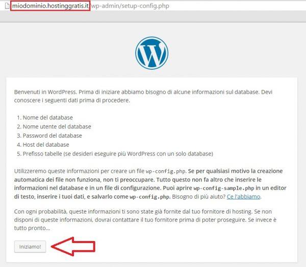 installazione wordpress sul sito