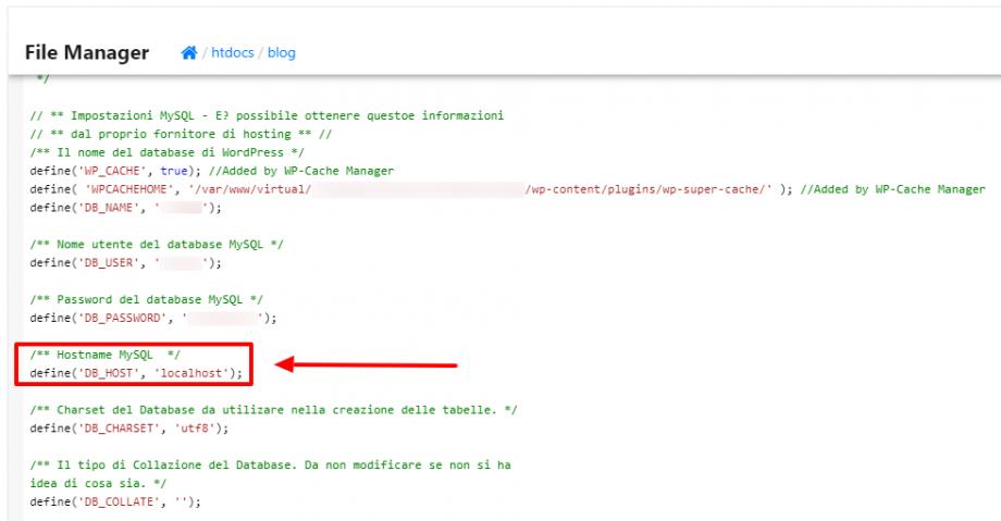 Modifica hostname MySQL con editor HVCP