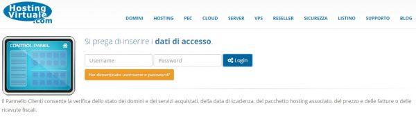 Pannello clienti pagina accesso