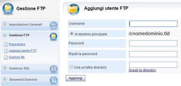 Pannello vhcs gestione ftp aggiungi utente