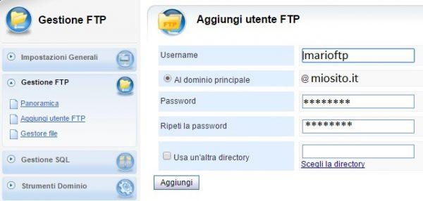 Pannello vhcs gestione ftp aggiungi-utente esempio