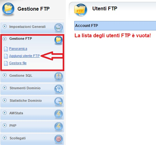 Pannello vhcs gestione ftp