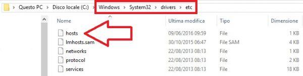 Percorso file hosts windows