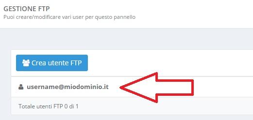user ftp creato
