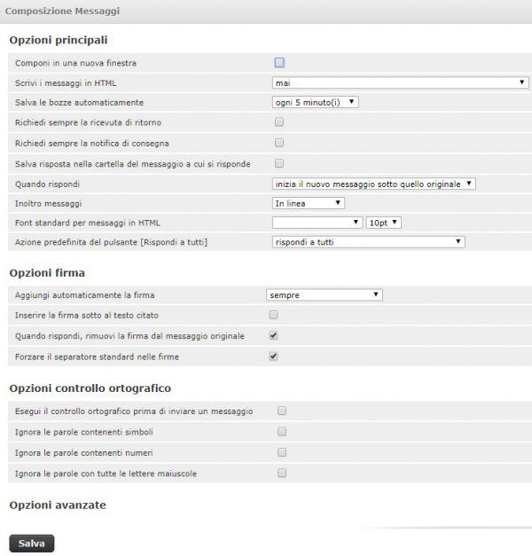 webmail impostazioni composizione messaggi