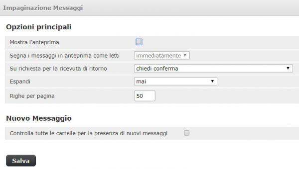 webmail impostazioni impaginazione messaggi