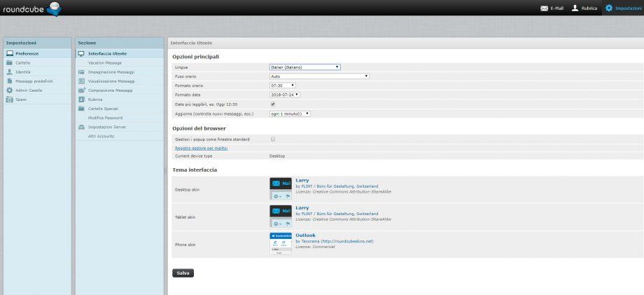 webmail-impostazioni menu principale