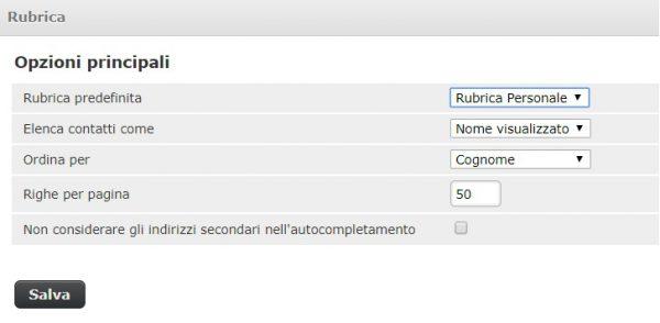 webmail impostazioni rubrica