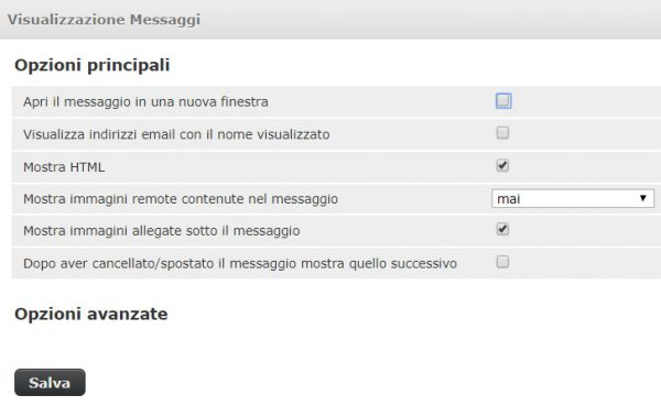webmail impostazioni visualizzazione messaggi