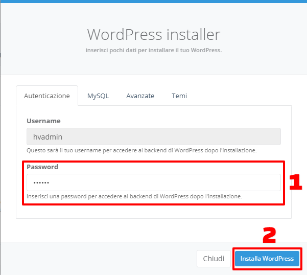 WP Installer: inserimento password