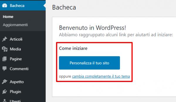 WP Installer: Personalizza sito web